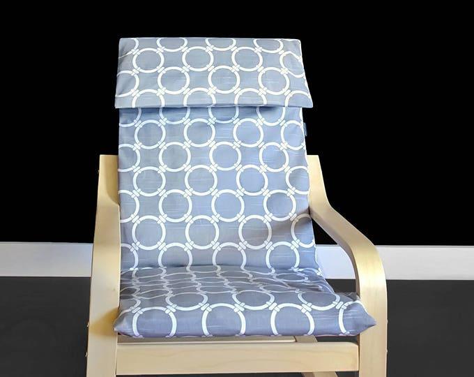Ikea KIDS POANG Cushion Slipcover - Circles Linked Cool Grey