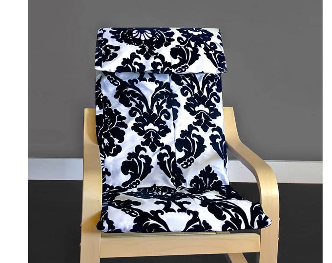 Black White Damask IKEA KIDS POÄNG Cushion Slip Cover, Ready to Ship, Sale