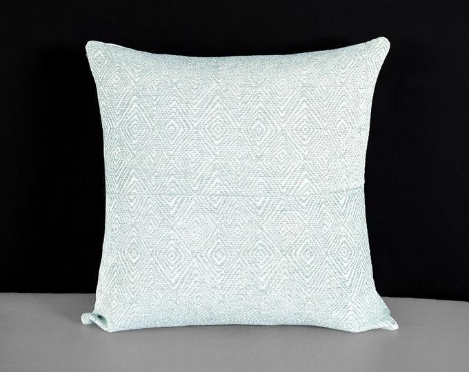 Patchwork Light Blue Velvet Pillow Cover