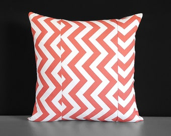 Patchwork Coral Chevron Pillow Cover
