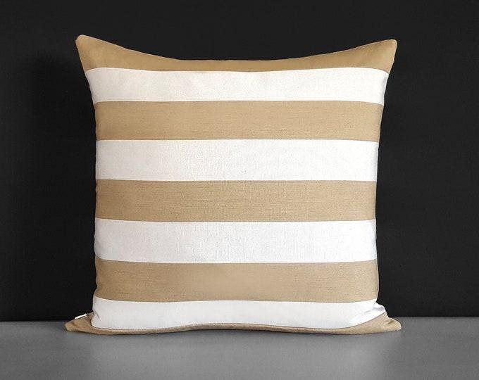 Sunbrella Outdoor Beige Stripe Pillow Cover