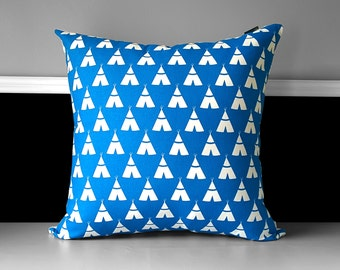 "Cobalt Blue Tee Pee Wig Wam Pillow Cushion Cover, 20"" x 20"", Ready to Ship"