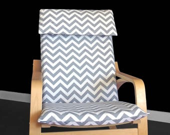 IKEA POÄNG Cushion Slipcover - Grey Chevron
