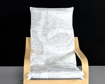 Patchwork Indian Print White, Gray Ikea KIDS POÄNG Cushion Slipcover