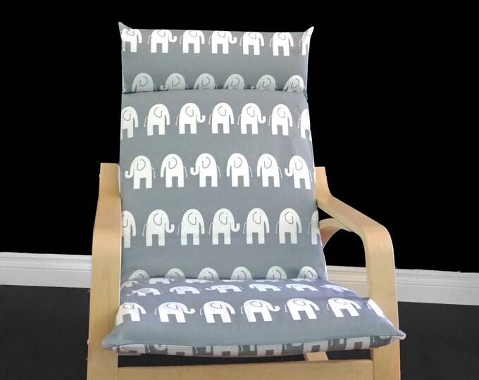 White Elephant IKEA POÄNG Cushion Slipcover, Elephant Ikea Chair Covers