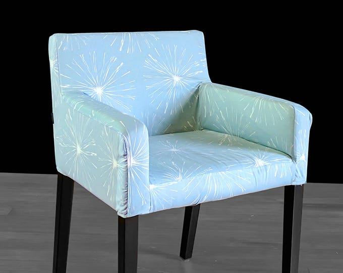Custom IKEA NILS Chair Slip Cover, Light Blue Sparks, Blossom, Fireworks
