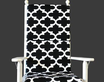 Black Indian Style Rocking Chair Cushion