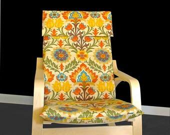 Flower Print IKEA POÄNG Cushion Seat Cover - Santa Maria Adobe
