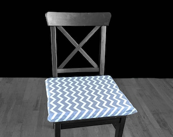 """PAIR of REVERSIBLE Large Grey Chevron Chair Pads, 14"""" x 17"""", Removable Cover"""