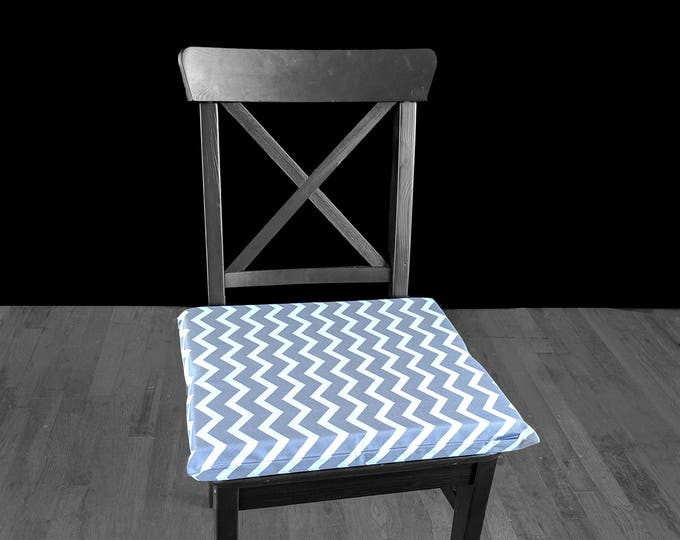 "PAIR of REVERSIBLE Large Grey Chevron Chair Pads, 14"" x 17"", Removable Cover"