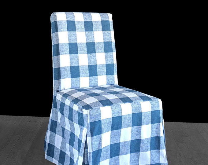Blue Buffalo Check IKEA HENRIKSDAL Dining Chair Cover, Traditional Style Henriksdal Slipcover