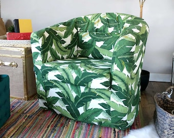 IKEA TULLSTA Chair Covers, Green Tropical Leaf Jungle Print, Summer House Ikea Decor, Tommy Bahama Palms
