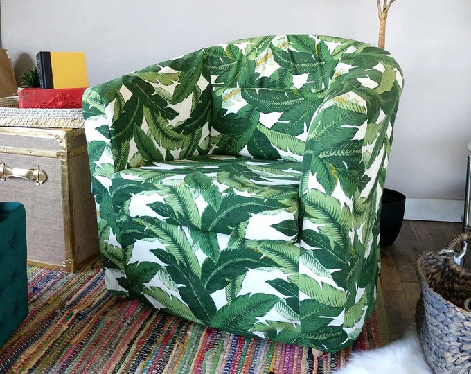 Tropical Leaf IKEA TULLSTA Chair Covers, Summer House Ikea Decor, Tommy Bahama Indoor Outdoor Jungle Chair Cover Custom Chair Slip Cover