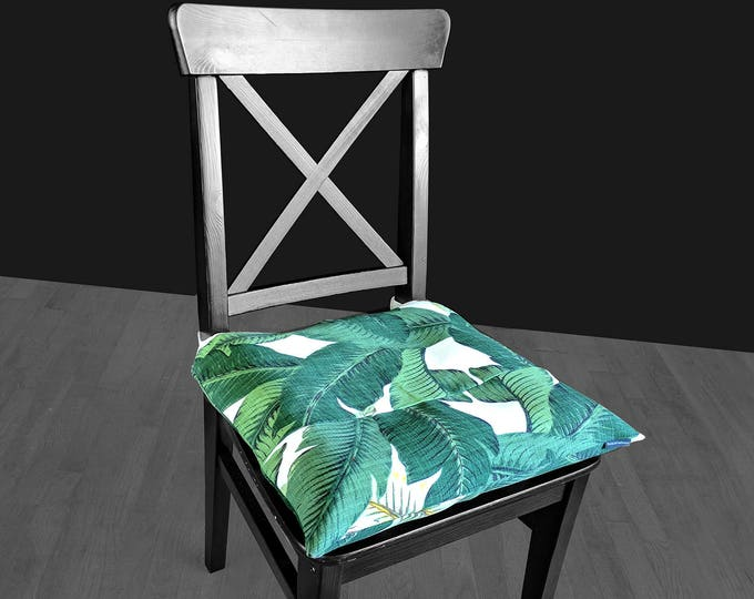 Tropical Leaf Print IKEA MALINDA Chair Pad Cover, Tommy Bahama Swaying Palms Aloe