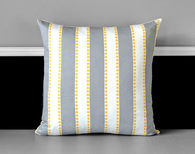 Striped Gray White Pillow Cover