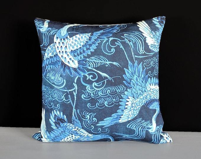 Indigo Blue Crane Pillow Cover, Oriental Bird
