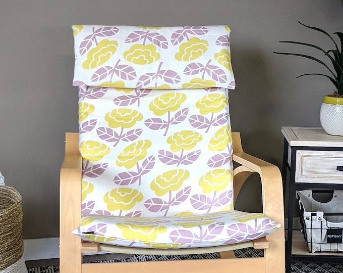 SALE Floral Lavender Yellow IKEA POÄNG Cushion Slipcover