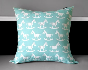 """Rocking Horse Nursery Pillow Cover  20"""" x 20"""", Ready to Ship"""
