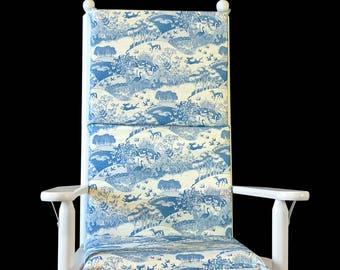 Blue Japanese Farm Rocking Chair Cushion