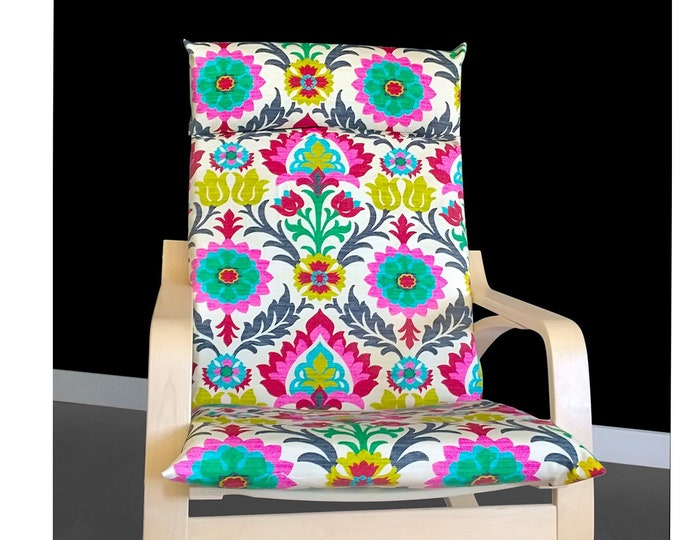 Psychedelic IKEA POÄNG Cushion Slipcover, Flower Print Poang Chair Cover