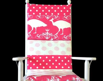 Pink Peacock Polka Dot Rocking Chair Cushion