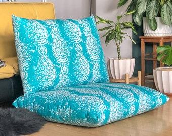 IKEA Havsten Outdoor Covers, Turquoise Blue Indian Print Ikat Slip Cover, Ikea Cushion Covers, Custom Ikea Decor, Bespoke Arholma Covers