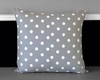 Grey White Polka Dot Pillow Cover