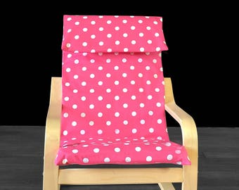 Pink Polka Dot IKEA KIDS POÄNG Cushion Slipcover, Girls Poang Chair Cover
