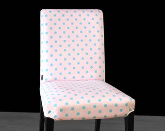 Pink Blue Polka Dot HENRIKSDAL Dining Chair Cover, Spotty Henriksdal Seat Cover
