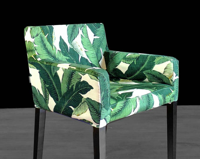 Custom Furniture Prints, IKEA NILS Chair Slip Cover - Green Tommy Bahama Tropical Swaying Palms, Outdoor