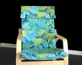 IKEA POÄNG Chair Cover, Tropical Leaf Summer House Ikea Decor, Bahamian Breeze Peninsula