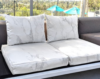 IKEA Cushion Covers, Sunbrella Marble White Gray, Outdoor Slip Cover, Custom Ikea Decor, Bespoke Covers, All Models