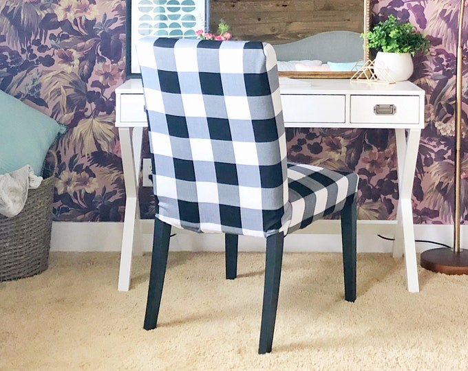 Featured listing image: Plaid Buffalo Check Black White IKEA HENRIKSDAL Dining Chair Cover, Traditional Style Henriksdal Slipcover