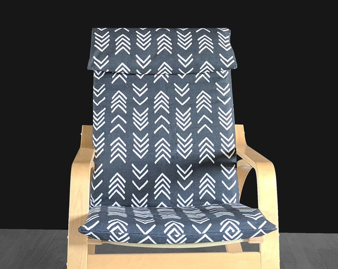 Black African Mudcloth 2019 IKEA POÄNG Cushion Seat Cover