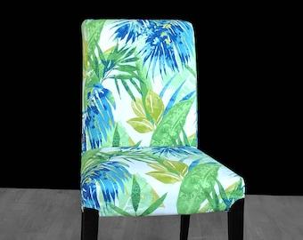 Blue Green Leaf Print IKEA HENRIKSDAL Dining Chair Cover, Bespoke Leaves Henriksdal Covers, Jungle Ikea Chair Covers, Custom Ikea Decor