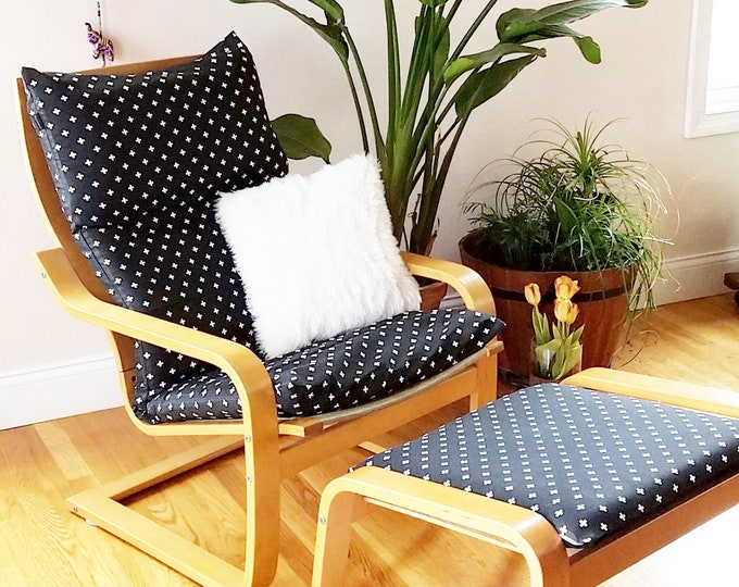 Customized Black IKEA POÄNG Cushion Chair Cover - Mini Swiss Cross