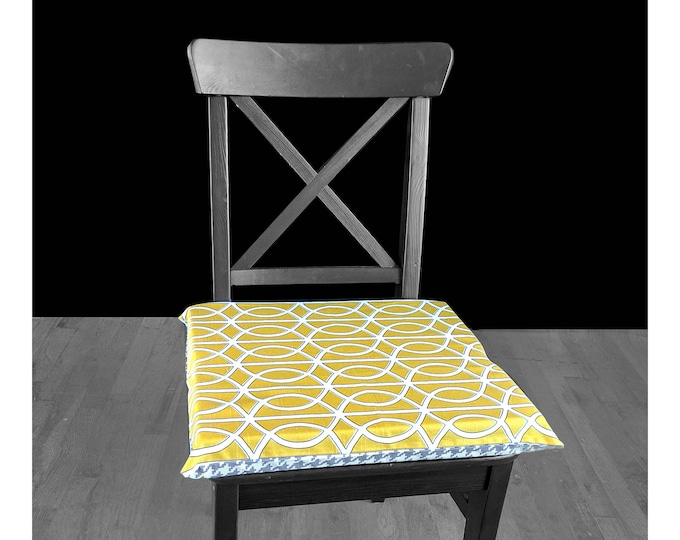 "PAIR of REVERSIBLE Large Chair Pads, 14"" x 17"", Removable Cover, Grey Houndstooth, Bella Porte Citrine"