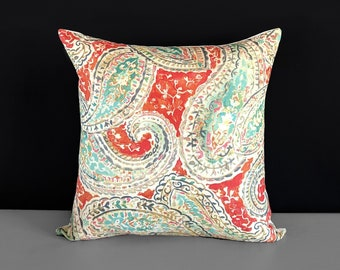 Orange Gray Paisley Damask Pillow Cover