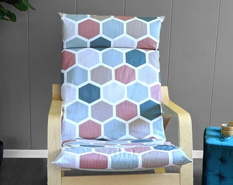 Teal, Blush Pink Hexagon Print Ikea Poang Chair Cover