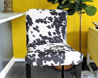 IKEA HENRIKSDAL Bar Stool Chair Cover, Black Cow Print Ikea Slip Cover, Ikea Accessories, Udder Madness