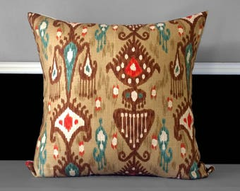 "Brown Ikat Adobe Khanjali Pillow Cover 20"" x 20"""