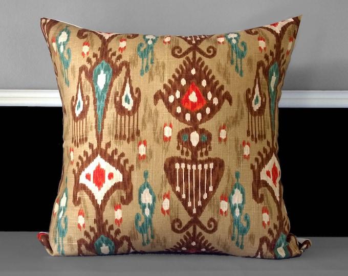 "Brown Ikat Adobe Khanjali Pillow Cover 20"" x 20"""