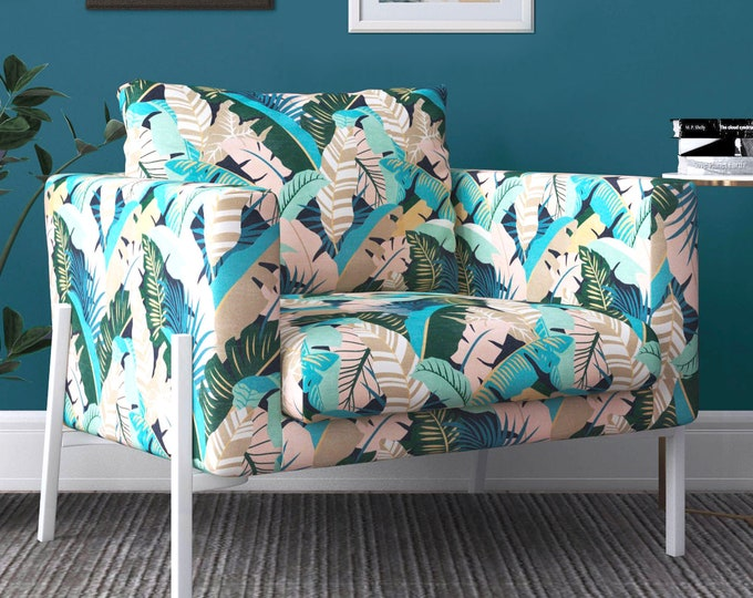Featured listing image: IKEA KOARP Armchair Covers, Blush Pink, Teal Jungle Print Chair Cover