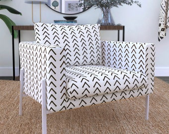 IKEA KOARP Armchair Covers, Arrows Tribal Print, African Ikea Decor, Beige Boho Indoor Mudcloth Chair Cover