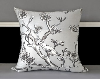 Patchwork Dwell Studio Vintage Blossom Dove Grey Pillow Cover, Ready to Ship