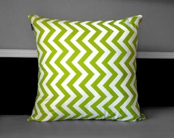 Green Chevron Zig Zag Cushion Cover, Ready to Ship