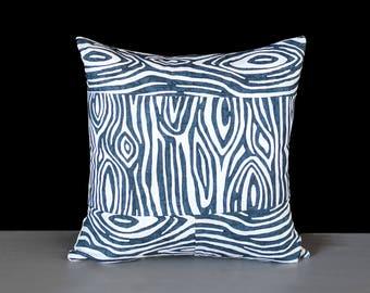 Wood Print, Navy Blue Pillow Clover