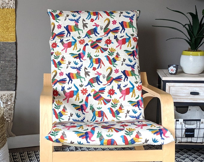 Featured listing image: IKEA POANG Chair Slip Cover, Otomi Animal Seat Cover, Colorful Latin Print