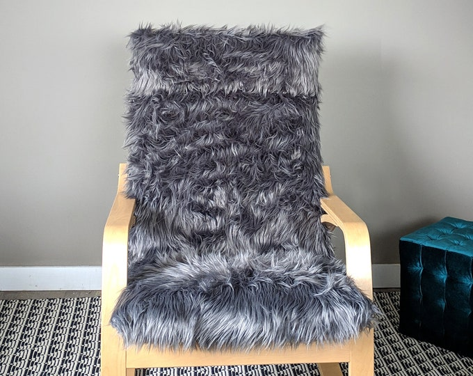 Gray Fur IKEA POÄNG Cushion Slipcover, Custom Fur Ikea Chair Cover