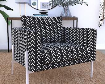 IKEA KOARP Armchair Covers, Arrows Tribal Print, African Ikea Decor, Black Boho Indoor Mudcloth Chair Cover